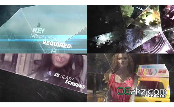 玻璃质感多面大屏幕视频内容展示AE模板