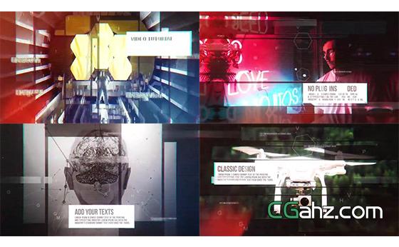 独特风格化未来派图文内容展示AE模板