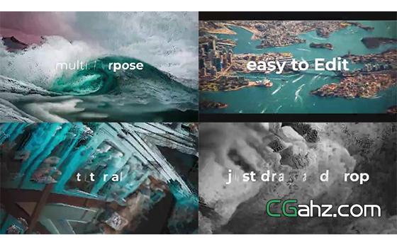 独特风格化处理的图像特效快闪片头AE模板