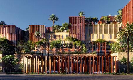 房子上种树建筑表现效果图