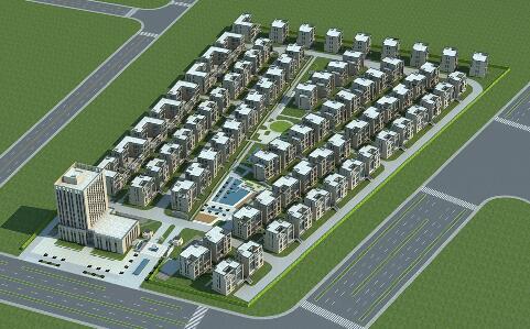 簡單的多層住宅建筑群3D模型下載