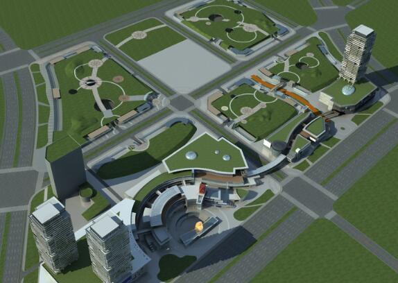 大型商业综合体3D模型下载