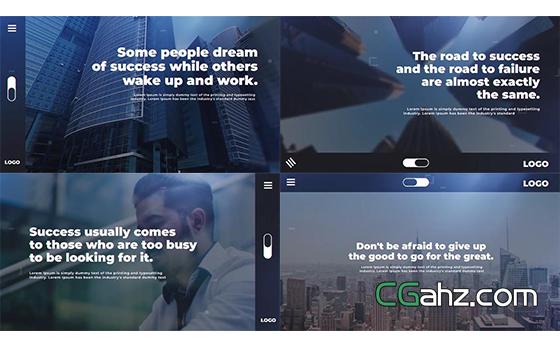 简洁的现代企业幻灯片排版展示动画AE模板