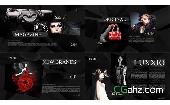 黑色優雅高端的時尚雜志排版展示AE