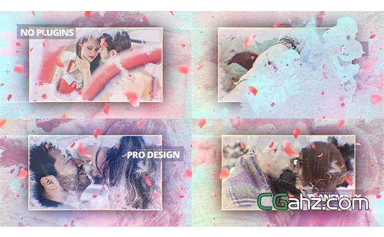 浪漫花瓣中水墨暈染的愛情圖像展示