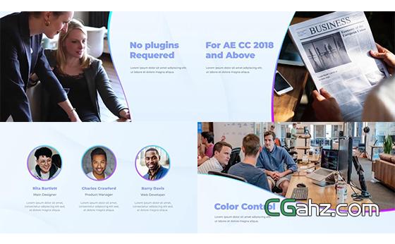 現代簡約風格的企業商務內容展示AE模板