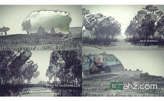 手绘森林风景照片展示AE模板
