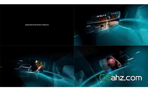 旋轉并閃爍出現的圖像內容展示AE模板