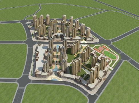 高层建筑群,商业综合体3D模型下载