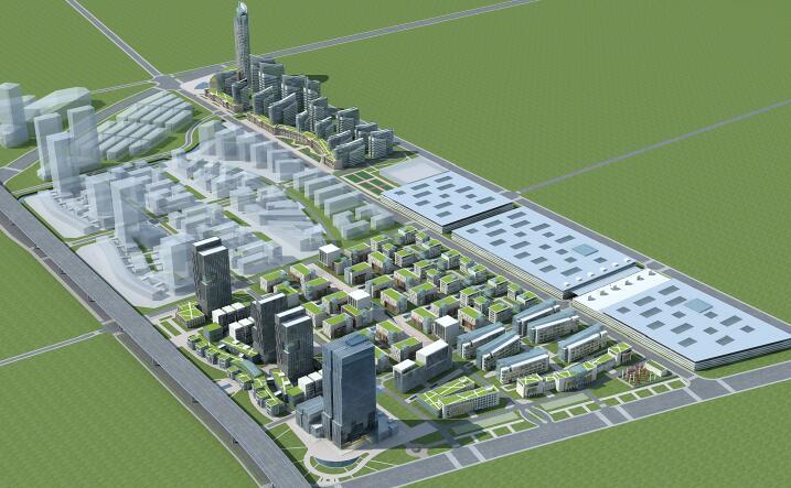办公建筑群3D模型下载