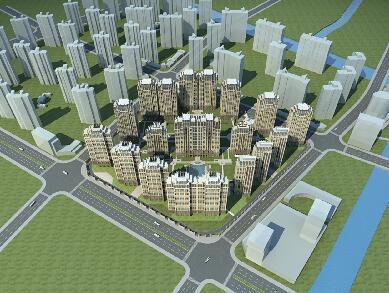 高層的住宅小區3D模型在下載