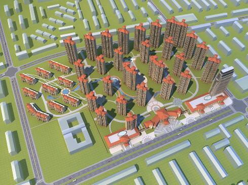 法式成套住宅小區3D模型下載