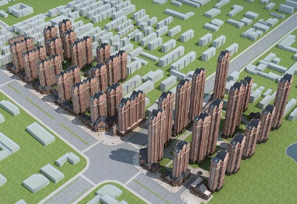 法式沿街高層住宅3D模型下載