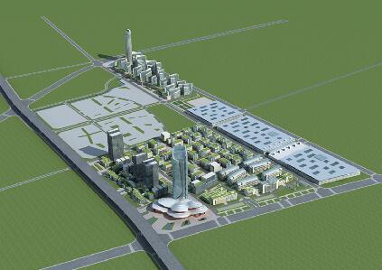 現代辦公樓建筑群3D模型下載