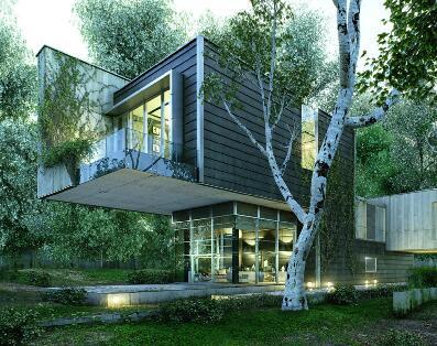 树林中的房子建筑表现作品