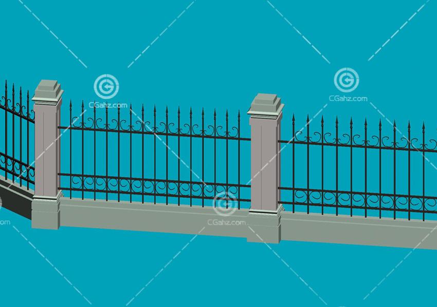 围墙模型 欧式围墙模型         景观常用的石材护栏max模型免费下载