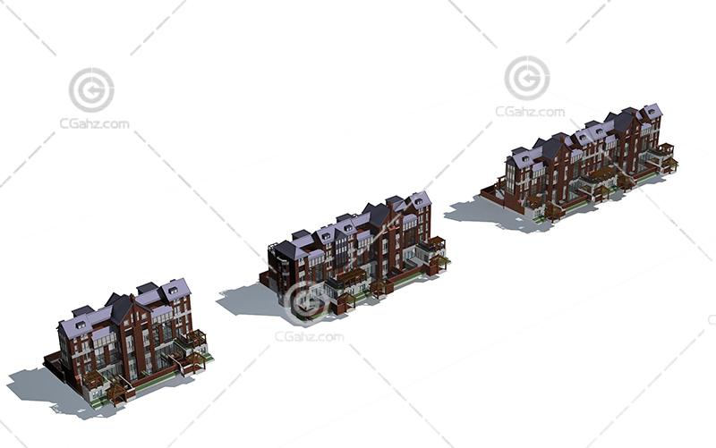 欧式排屋模型下载